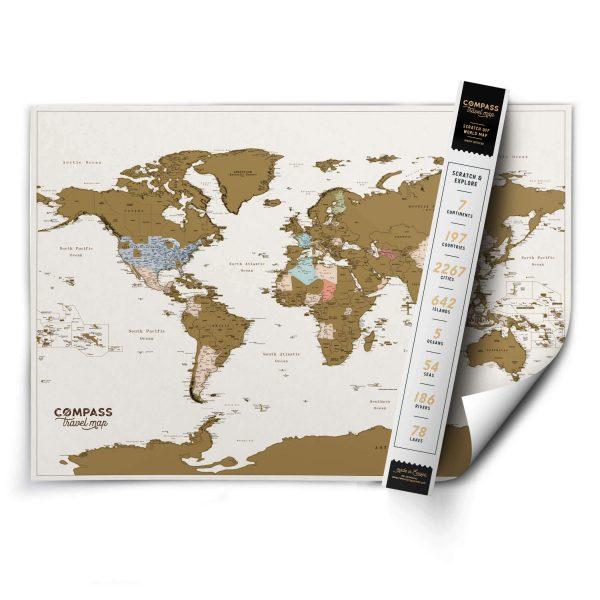 Nutrinamas pasaulio zemelapis compass